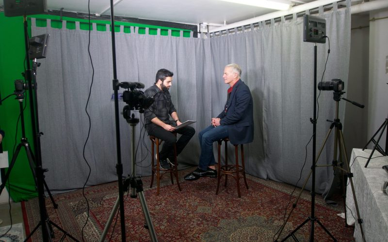 Masih Sadat interviewing Norman Finkelstein in Copenhagen, February 2017.